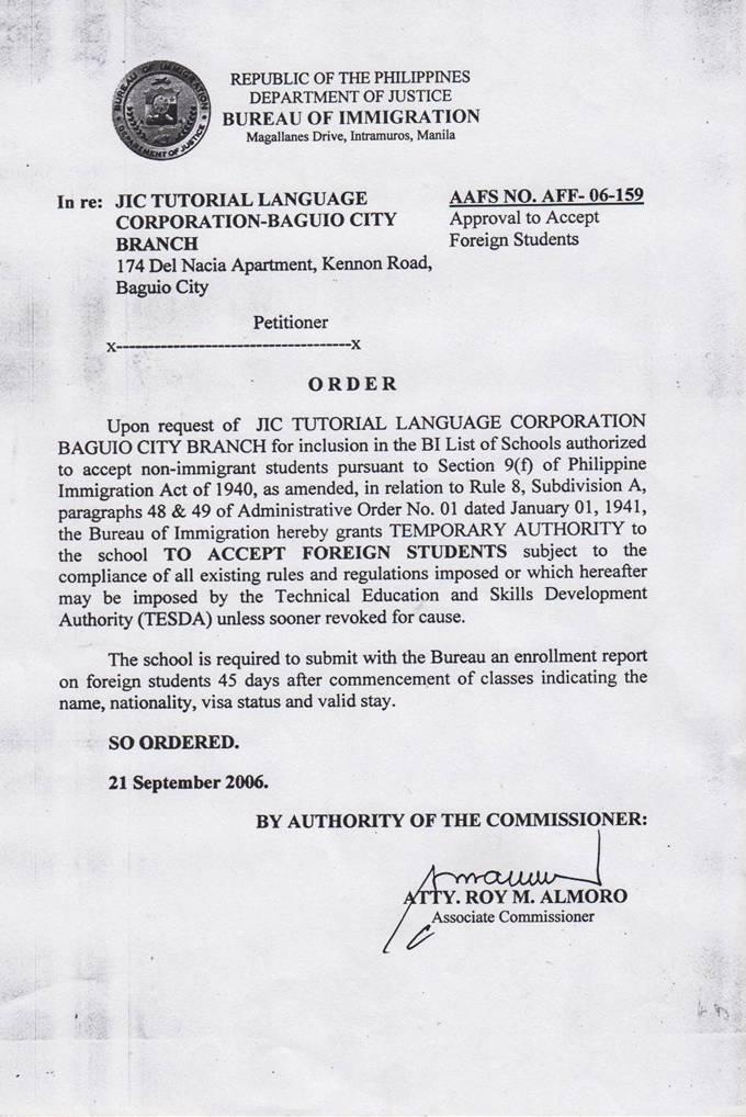菲律宾游学-碧遥-JIC-菲律宾移民署 SSP 认证
