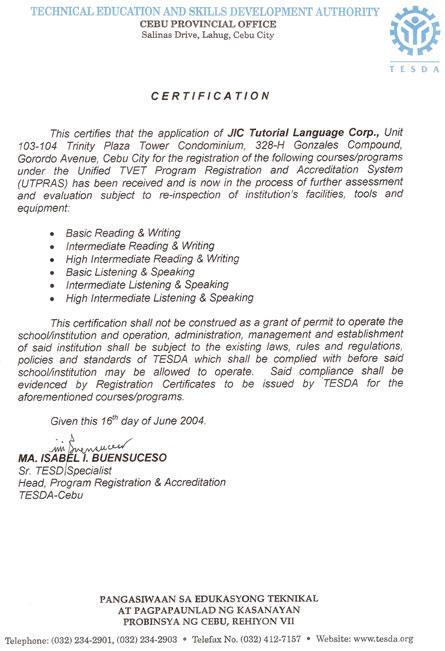菲律宾游学-宿雾-JIC-教育部TESDA认证