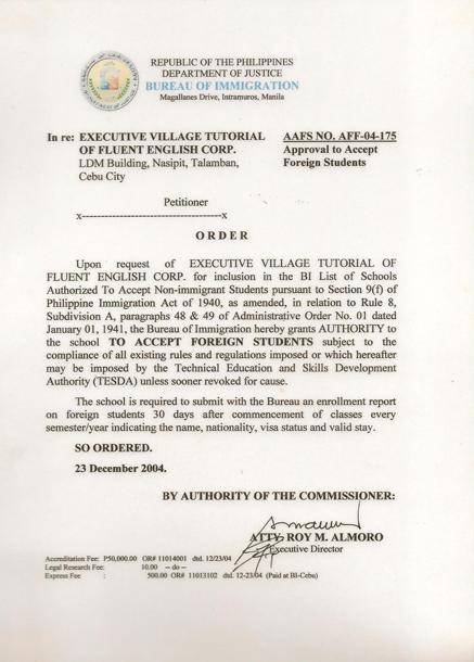菲律宾游学-宿雾-EV-菲律宾移民署 SSP 认证