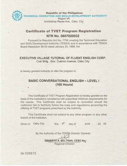 菲律宾游学-宿雾-EV-菲律宾教育部 TESDA 认证