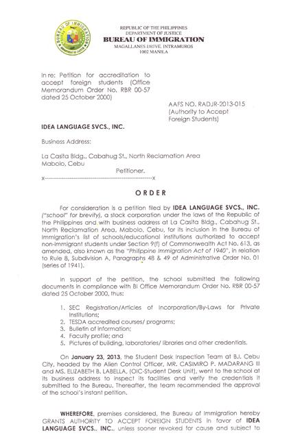 菲律賓遊學-宿霧-IDEA-菲律賓移民署 SSP 認證