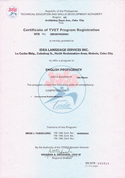 菲律宾游学-宿雾-IDEA-菲律宾教育部 TESDA 认证