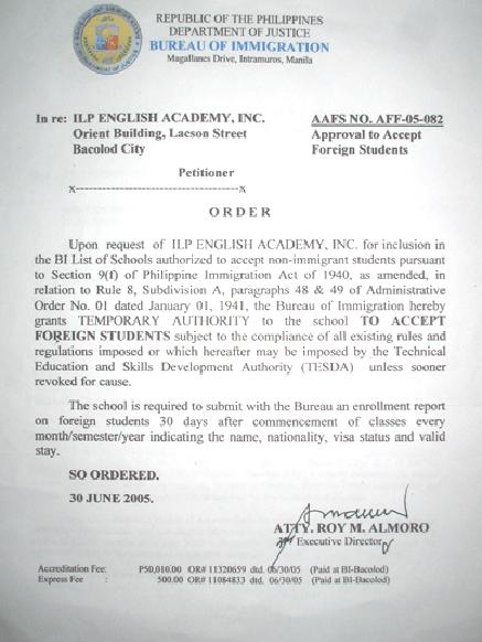 菲律賓遊學-巴克羅-ILP-菲律賓移民署 SSP 認證