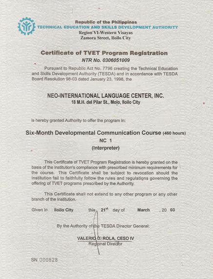 菲律賓遊學-怡朗Iloilo-NEO-教育部TESDA認證