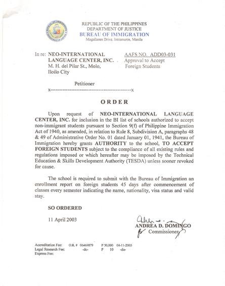 菲律賓遊學-怡朗Iloilo-NEO-移民署SSP認證