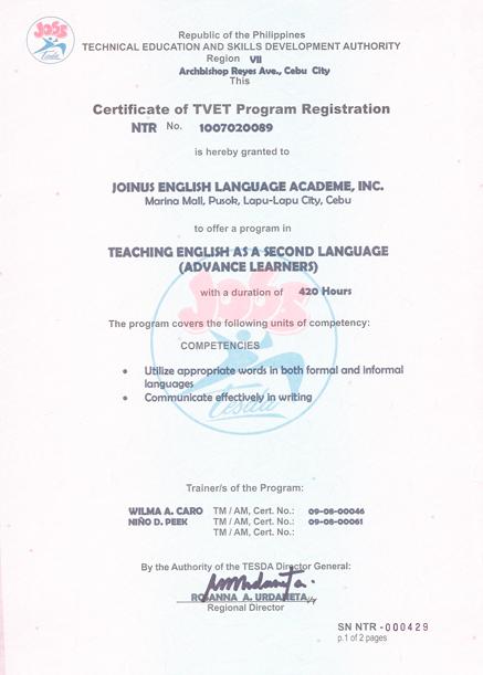 菲律賓遊學-宿霧-Philinter-菲律賓教育部 TESDA 認證