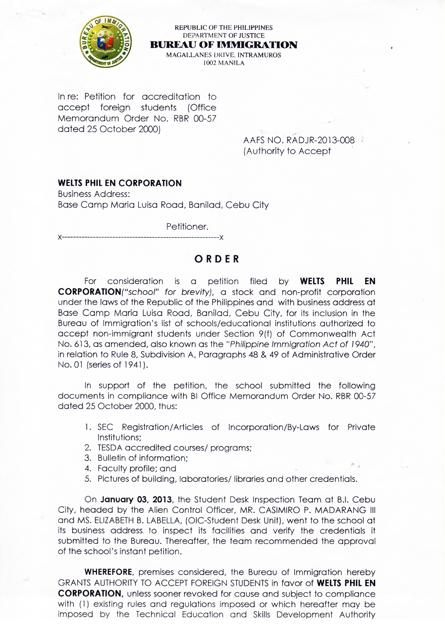 菲律賓移民署 SSP 認證